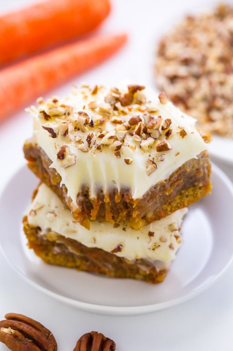 Thick and Chewy Carrot Cake Blondies! So easy and perfect for Easter.
