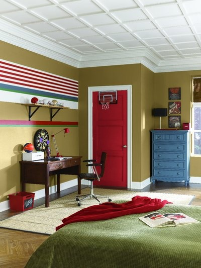 Junior Varsity. Hopsack (SW 6109), Chinese Red (SW 0057), Pure White (SW 7005), Needlepoint Navy (SW 0032), Cilantro (SW 6453): Wall Colors, Red Doors, Boys Bedrooms, Paintings Ideas, Boys Rooms Colors, Rooms Paintings Colors, Chine Red, Boys Rooms Paintings, Kids Rooms