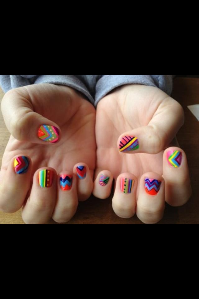 colorful striped nail polish desing
