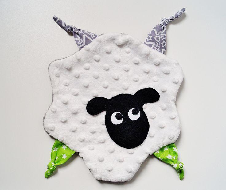 doudou mouton: doudou plat à étiquettes