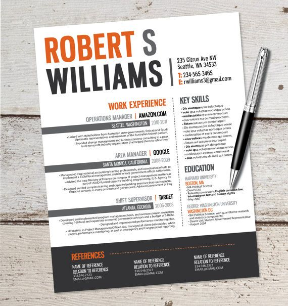 The Robert Resume Design - Graphic Design - Marketing - Sales - Real Estate - Customer Service - Medical - Teaching