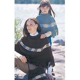 Classic poncho with bold, simple geometric patterned decoration. Warm and attractive. Sizes: child 4-8 yrs or women 32-38 in (81-97 cm) bust. Shown in Patons Decor, using 4.5 mm (US 6) double pointed and circular knitting needles. (Patons Yarn)