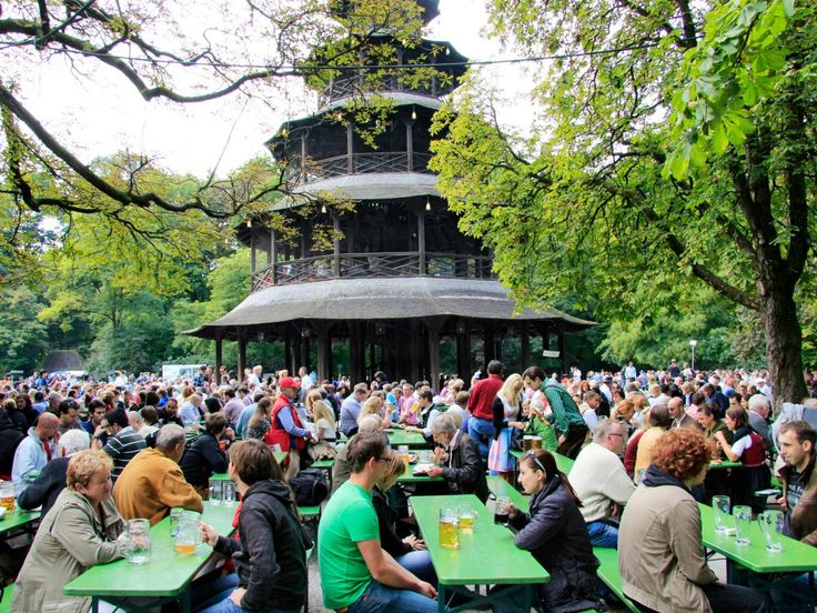 On a warm summer afternoon, it's all but impossible to resist Chinesischer Turm and its namesake, the pagoda-like Chinese Tower. This massive beer garden seats 7,000 and lies in the heart of Munich's English Garden. Plan to do your drinking on a weekend, when a brass band plays.