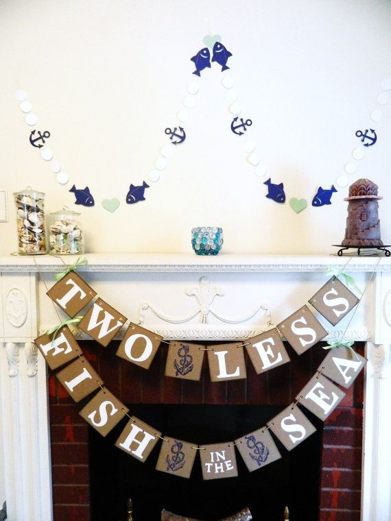 Two Less Fish In The Sea Banner Nautical Wedding Decor Couples Shower Decorations Nautical Bridal Shower Decorations Your Color Choice Phrase