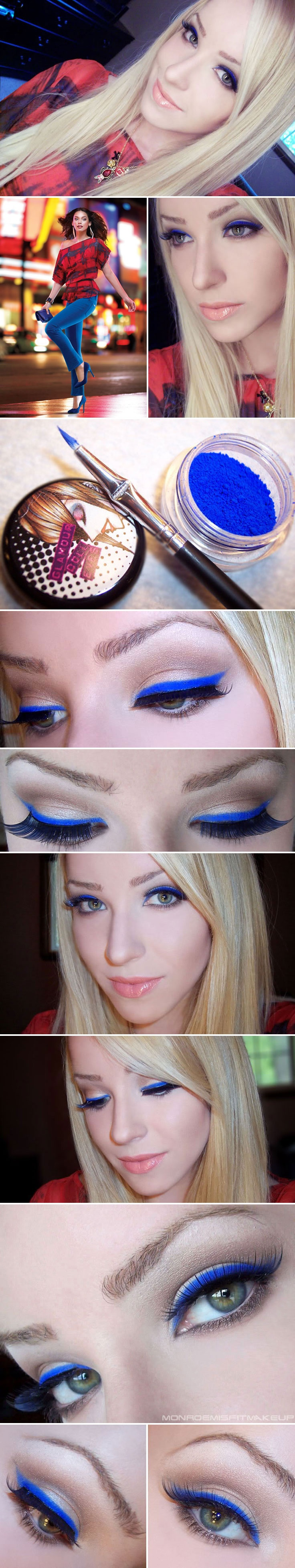DIY :: Electric Royal Blue Eyeliner by #monroemisfitmakeup :: Sketch line w/ Covergirl Liquiline Blast Blue Bloom pencil & press Glamour Doll Eyes pigment Mingles on it to dry w/ an angled brush. The rest of the eyes... NARS Pro-Prime Eyeshadow Base. MAC Shroom--lid. UD Naked Palette--Naked & Buck in crease. MAC Blanc Type & Dazzlelight (matte wht & cream shimmer)--brow/inner corner. UD 24/7 pencil Underground (warm taupey brown)--lower lashline. Elise Blue False Eyelashes.