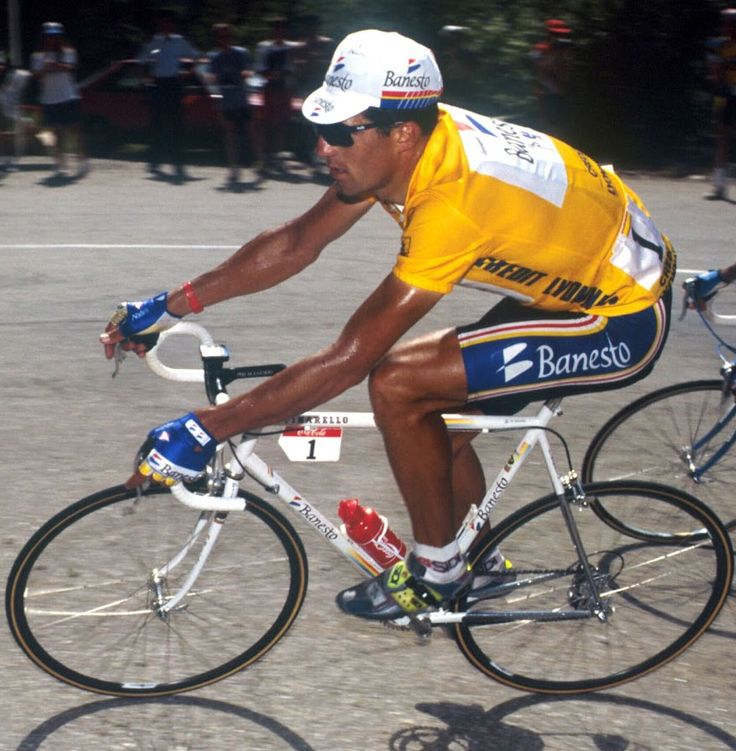 Miguel Indurain on his Pinarello. I watched him dominate the TDF in person, twice.