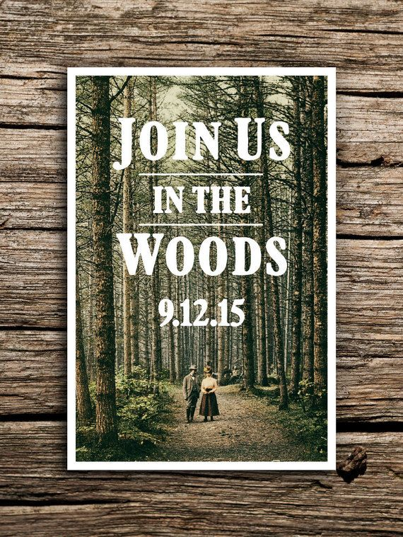 Rustic Woods Postcard Save the Date // Woodland Wedding Woodland Save the Date…