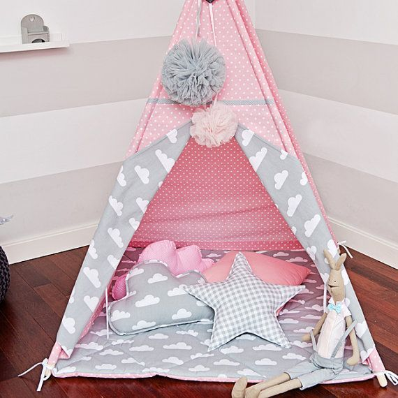 Teepee Kids Play Tent Tipi Cloudy Rose by FUNwithMUM on Etsy