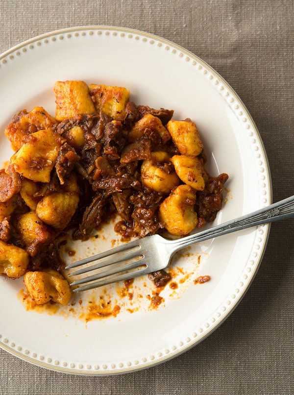 Classic Italian duck sugo, a rich and meaty pasta sauce you can use with really any pasta, but I like it with pumpkin-ricotta gnocchi! Recipe on Hunter Angler Gardener Cook: http://honest-food.net/