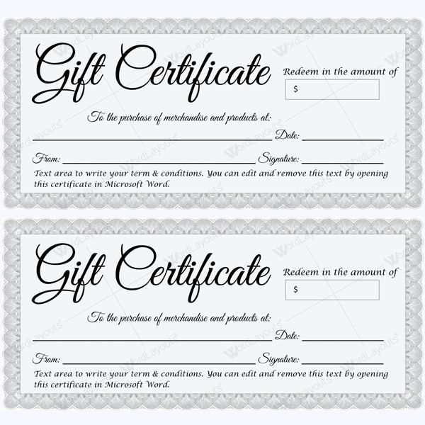 Beautiful formal gift certificate template in silver. #giftcertificate #giftcard