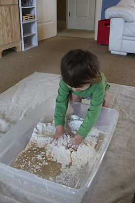 Cloud Dough (homemade moonsand)  8 cups flour 1 cup baby or canola oil.  The kiddo has been playing with this for hours, and super easy to clean up on hard surfaces.