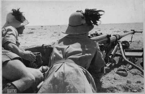 Italian Anti Tank Rifle Team in North Africa during the battle of Gazala they are using a Solothurn 20mm Anti Tank Rifle