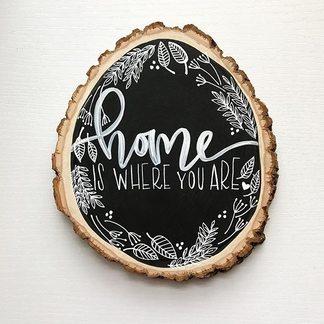 Sweet and simple wood slice lettering art