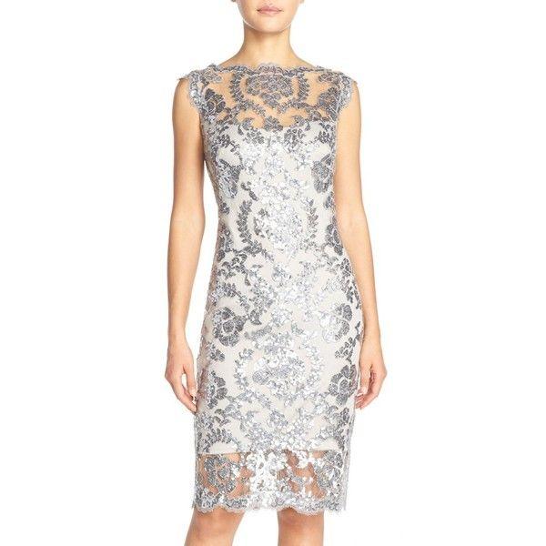 Tadashi Shoji Sequin Illusion Lace Dress ($298) ❤ liked on Polyvore featuring dresses, petite, steel, white sequin cocktail dress, white sequin dress, petite cocktail dress, white cocktail dresses e white sheath dress