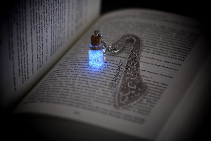 Silver Bookmark with Stars & Glow Bottle