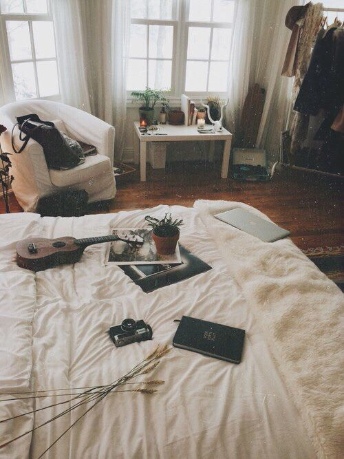 beautiful, bedroom, guitar, photography, picture