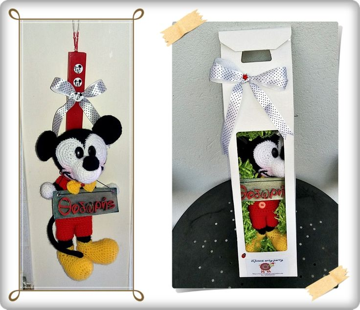 easter candle with crochet mickey mouse