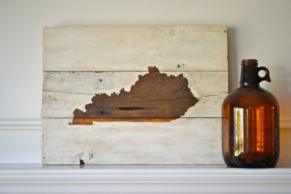 Reclaimed wood art sign: Customizable KY State My Old Kentucky Home/Home Sweet Home