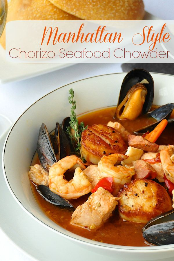 Manhattan Style Roasted Vegetable Chorizo Seafood  Chowder - Make this outstanding seafood chowder as simple as you like with one or two  favourite seafood choices or go all out for a total seafood celebration meal. A terrific romantic indulgence for 2 this Valentine's Day.