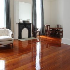 Waterlox Original Resin-Modified High Gloss Finish is the star of this 1800s home.