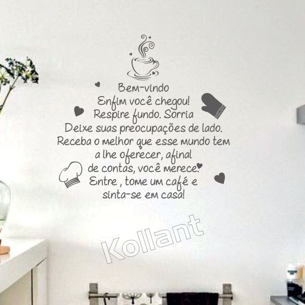 Adesivo Cozinha Tome um Café - Kollant Adesivos