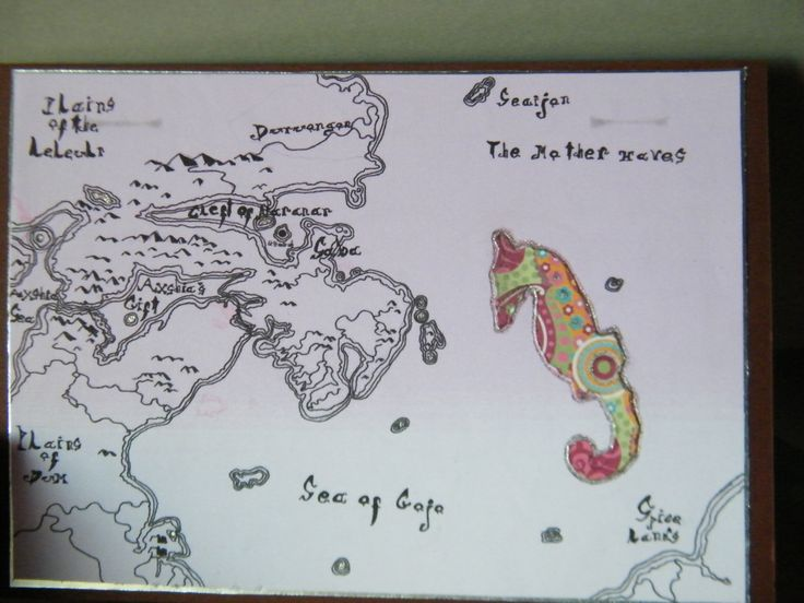 Follow your dreams. Handdrawn map and seahorse.