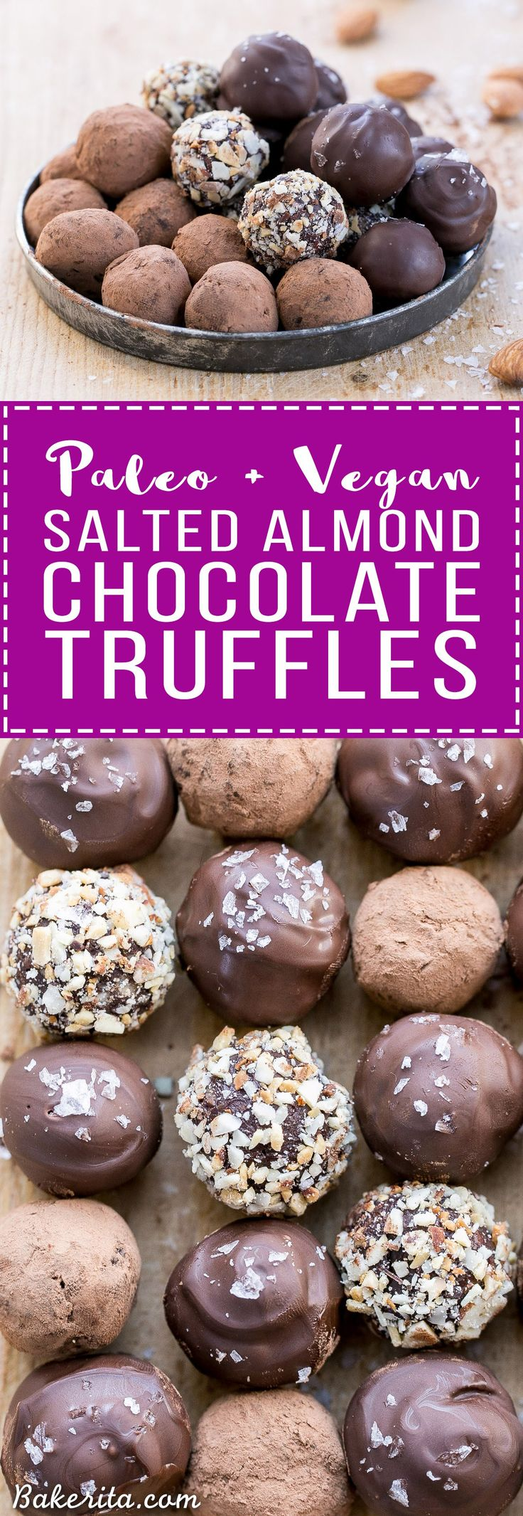 With toasted almonds for crunch and a sprinkle of sea salt on top, these Salted Almond Chocolate Truffles are a chocolate lover's dream! They're easy to make, Paleo-friendly, and vegan. A batch of these truffles makes the perfect holiday gift.