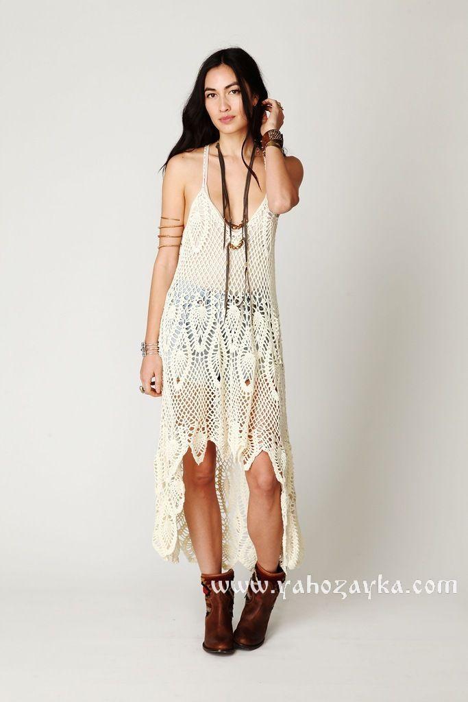"""Платье-накидка от """"Free People"""" связанная крючком из мотивов. Летнее платье в стиле бохо из ананасовых мотивов.  (261) Похожее"""