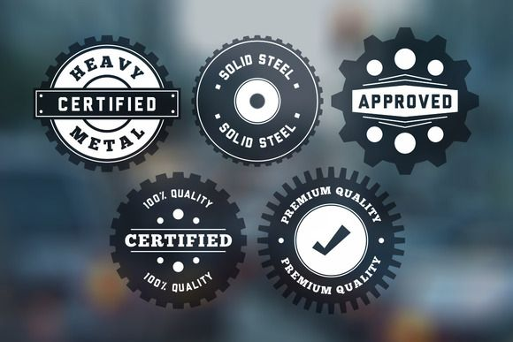 """Check out Vintage """"Gear"""" Badges Vector Pack by Design Panoply on Creative Market"""