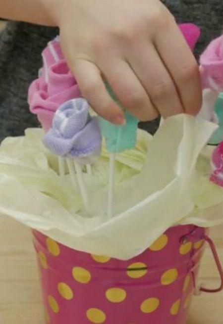 DIY Baby Sock Bouquet                                                                                                                                                                                 More