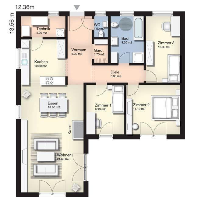 Grundriss Terra 111 · Small Floor PlansBungalowsHouse ...