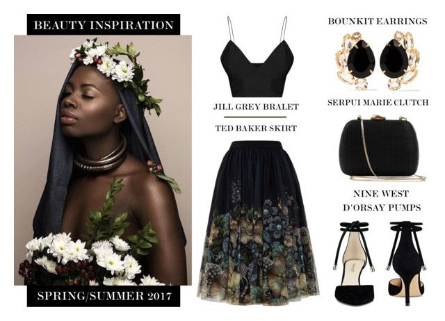 """""""Surrounded By Beauty"""" by latoyacl ❤ liked on Polyvore featuring Ted Baker, Nine West, Serpui and Bounkit"""