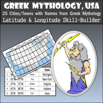 Greek Mythology, USA - 25 Towns w/ Greek Mythology Names -