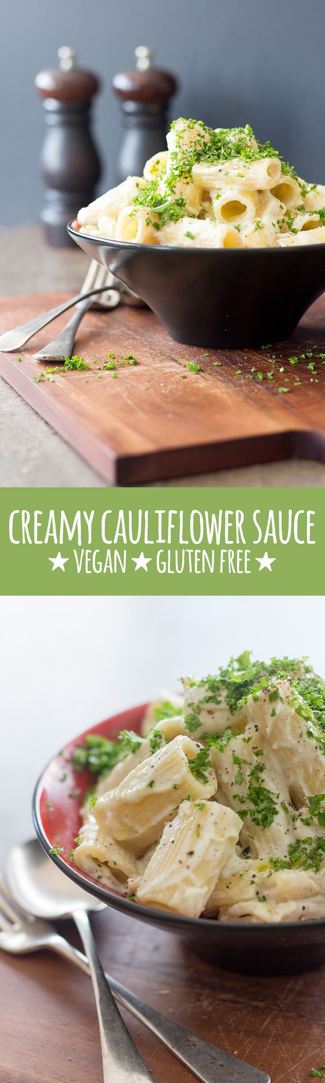 Creamy cauliflower sauce made with cauliflower, cashews and a few simple flavourings is delicious tossed with your favourite pasta. Vegan and gluten free.  via @quitegoodfood