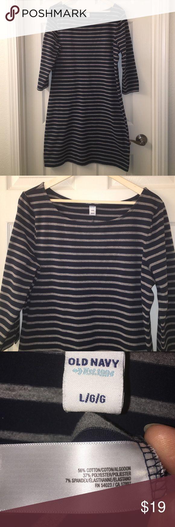 Black t shirt old navy - Old Navy Blue Gray Stripe Stretch Bodycon Tunic L