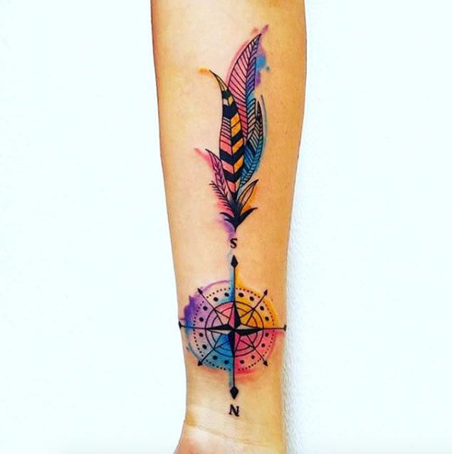 Watercolor Compass Tattoo by Mila Escobar