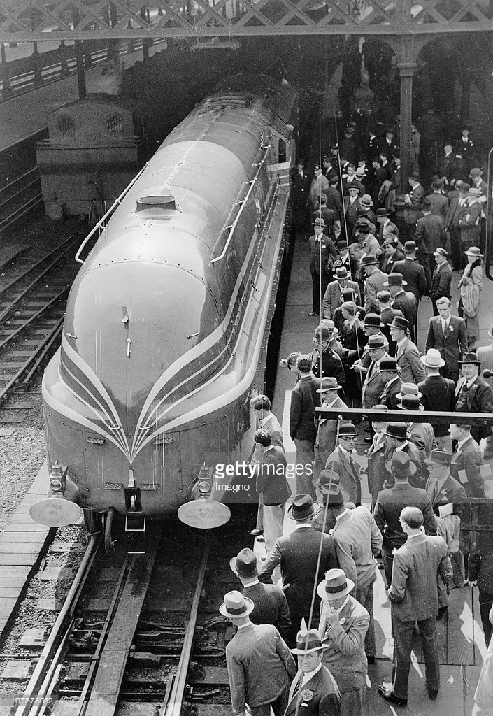 The Coronation Scot leaving Euston Station in London, It was an express passenger train of the London, Midland and Scottish Railway inaugurated in 1937 for the Coronation of King George VI, Photograph, June the 23rd, 1937