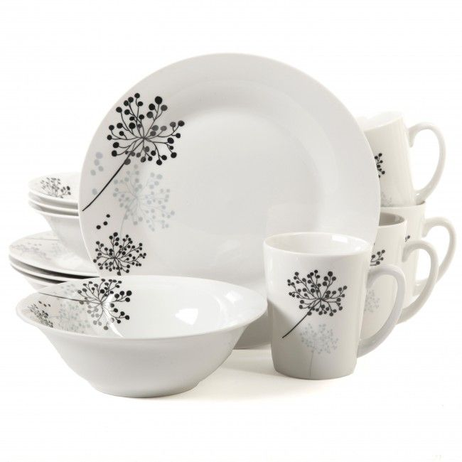 Gibson Home Netherwood 12 Piece Dinnerware Set, White