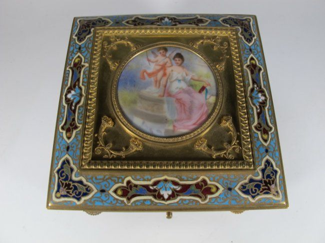 Antique French bronze champleve, porcelain & onyx box : Lot 161
