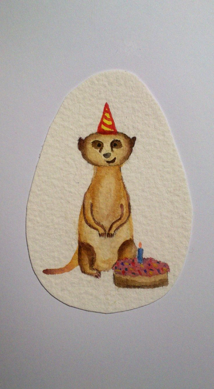 meerkat watercolour birthday card for Alex