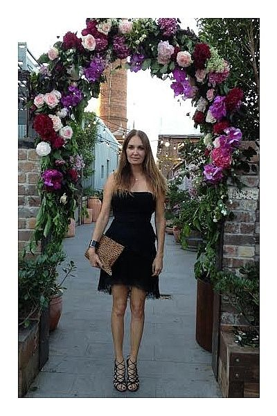 """We celebrated the gorgeous Kate Waterhouse's 30th Birthday at a flower filled, sit-down dinner for 50 guests at The Grounds Of Alexandria. Wearing Little Joe Woman black Chantilly lace strapless dress, leopard-print ponyhair clutch, House of Harlow black leather & gold cuff, Ella Po diamond & gold necklace and Azzedine Alaia heels."""