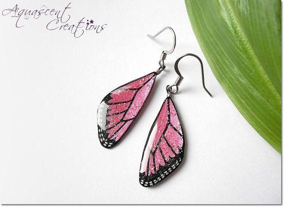 Medium butterfly wing earrings, dangle butterflies earring, hand painted butterfly wing earrings, pink black resin earrings, women gift