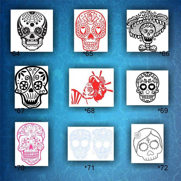 Skulls vinyl decals 64 72 dia de los muertos vinyl sticker