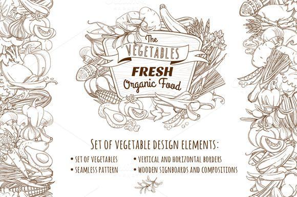 Set of vegetable design elements by VasilkovS on Creative Market