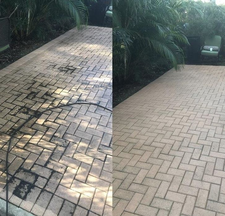 Before and after pics of pressure washing a back patio... Click image to view the how to pressure wash your concrete or brick patio.