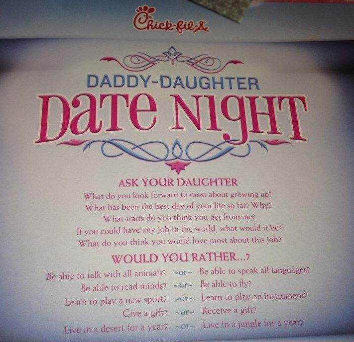 Chic-fil-a Daddy daughter date night... Ask your daughter