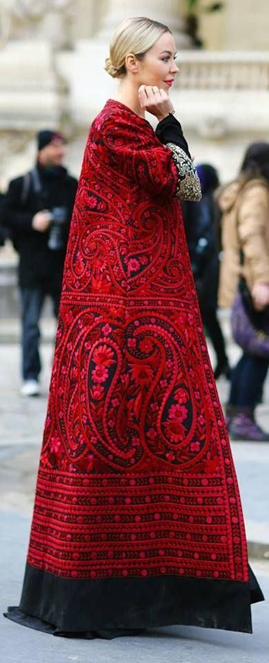 beauty..... embroidered red paisley Indian coat.... Ulyana Sargeenko14