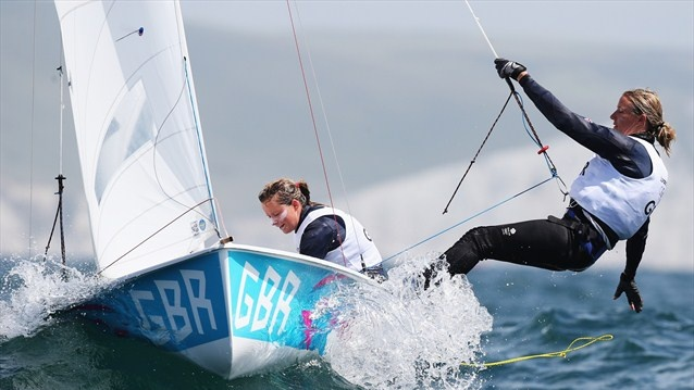 Hannah Mills (L) and Saskia Clark of Great Britain compete in the 470 Women's Class Sailing on Day 7 of the London 2012 Olympic Games at the Weymouth & Portland venue