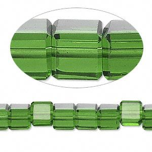 Emerald Green Celestial Crystal , 18-facet, 6 x 6mm cube 16 in strand, approx 64 pcs.