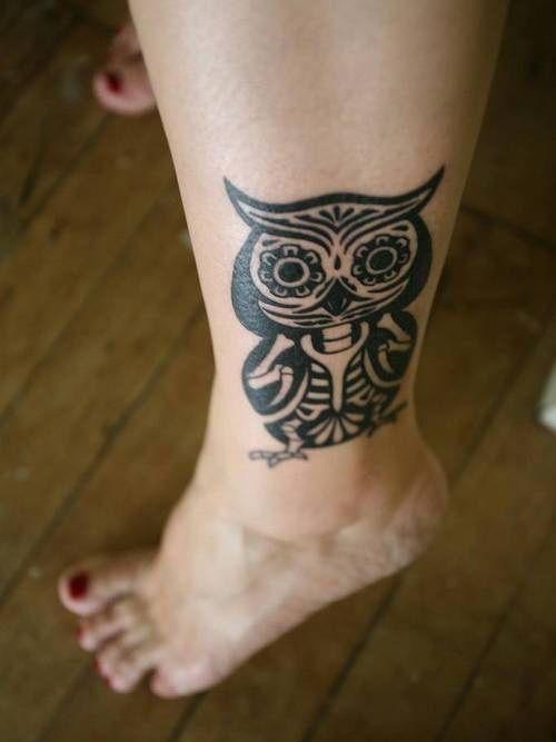 Tribal Owl Tattoo Designs On Foot
